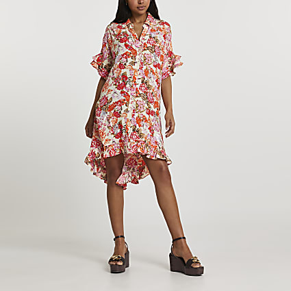 Orange short sleeve floral shirt dress
