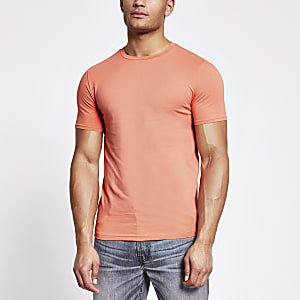 Kurzärmeliges Muscle Fit T-Shirt in Orange
