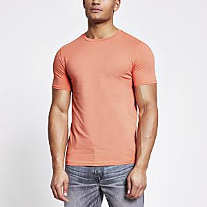 Oranje muscle-fit T-shirt met korte mouwen