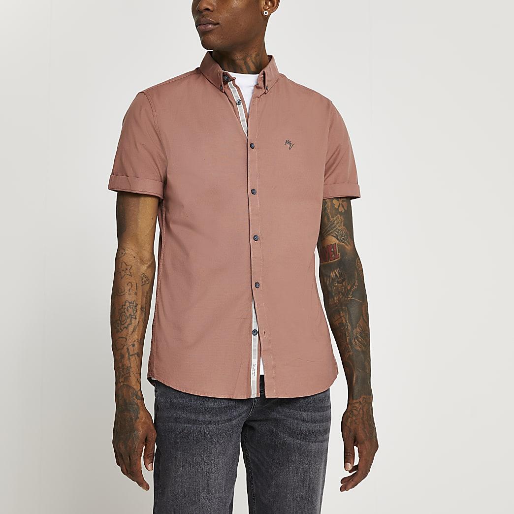 Orange short sleeve Oxford shirt