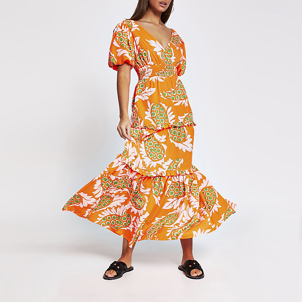 Orange short sleeve paisley print midi dress