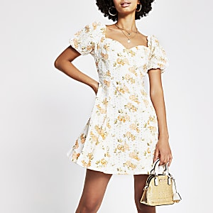Orange short sleeve printed broderie dress