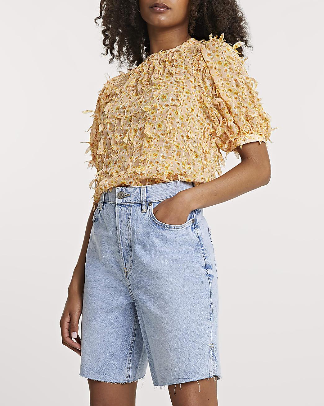 Orange short sleeve textured top
