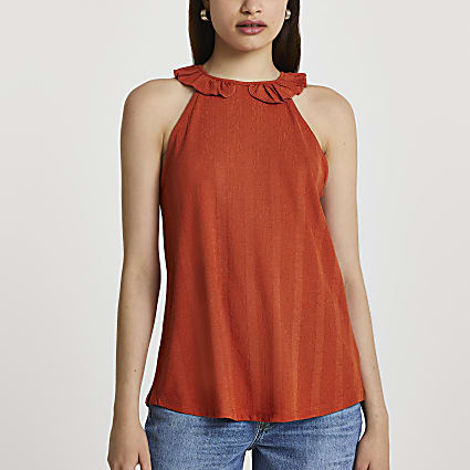 Orange sleeveless frill neck tank top