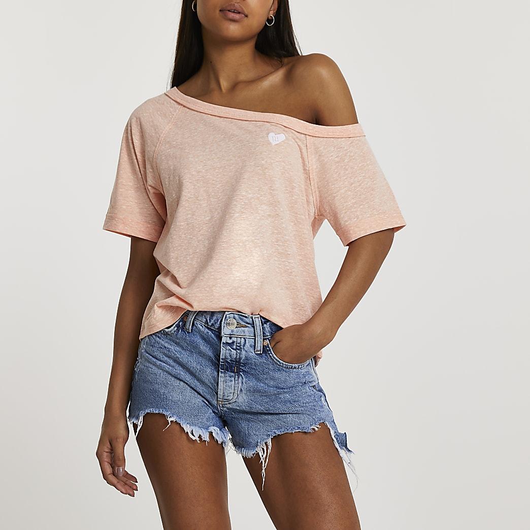 Orange slouchy one shoulder t-shirt