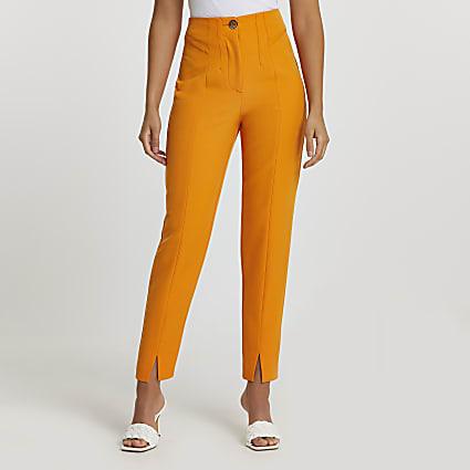 Orange split front cigarette trousers