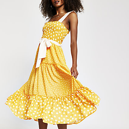 Orange spot midi beach dress