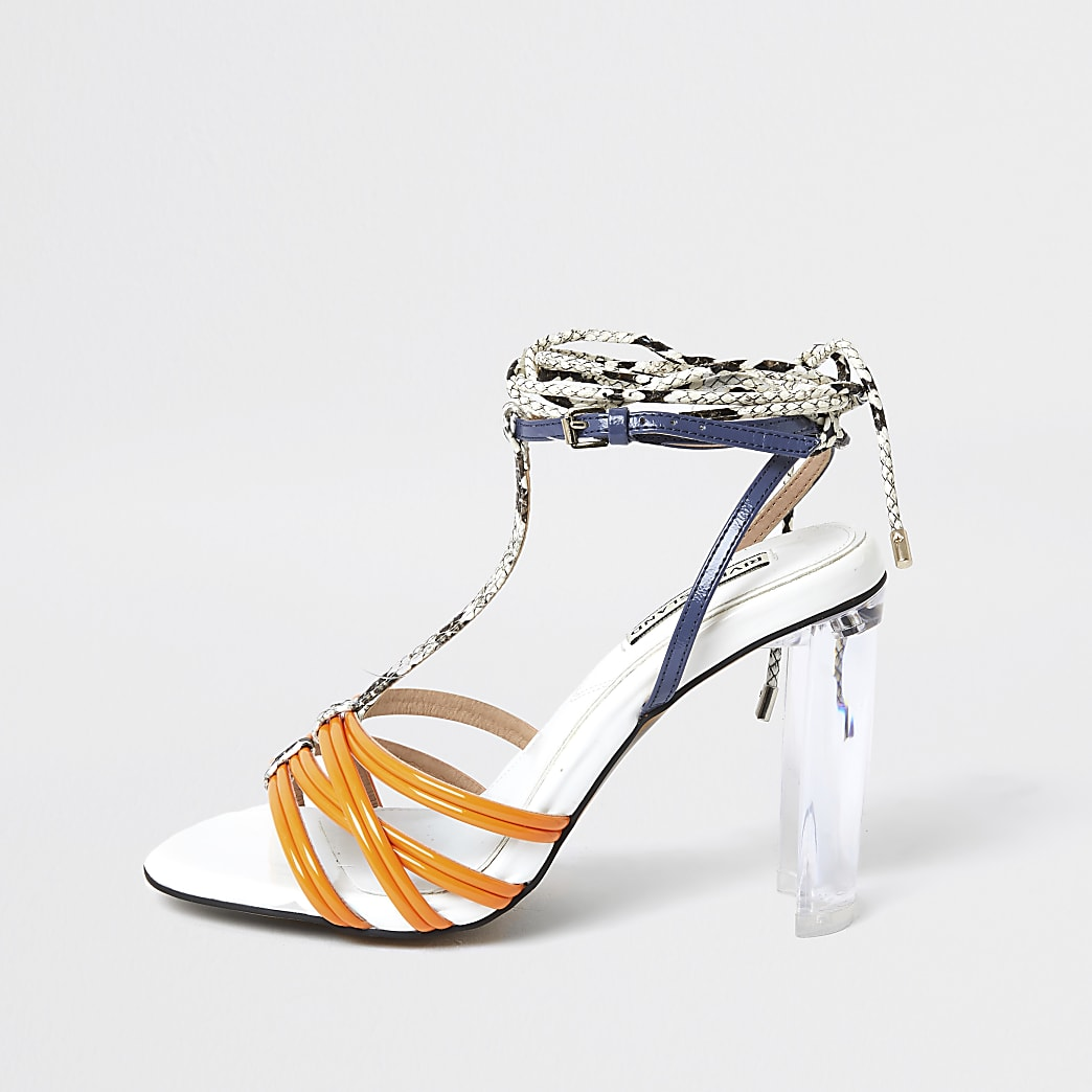 Orange strappy perspex heel sandal