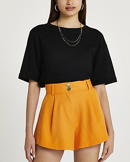 Orange structured shorts