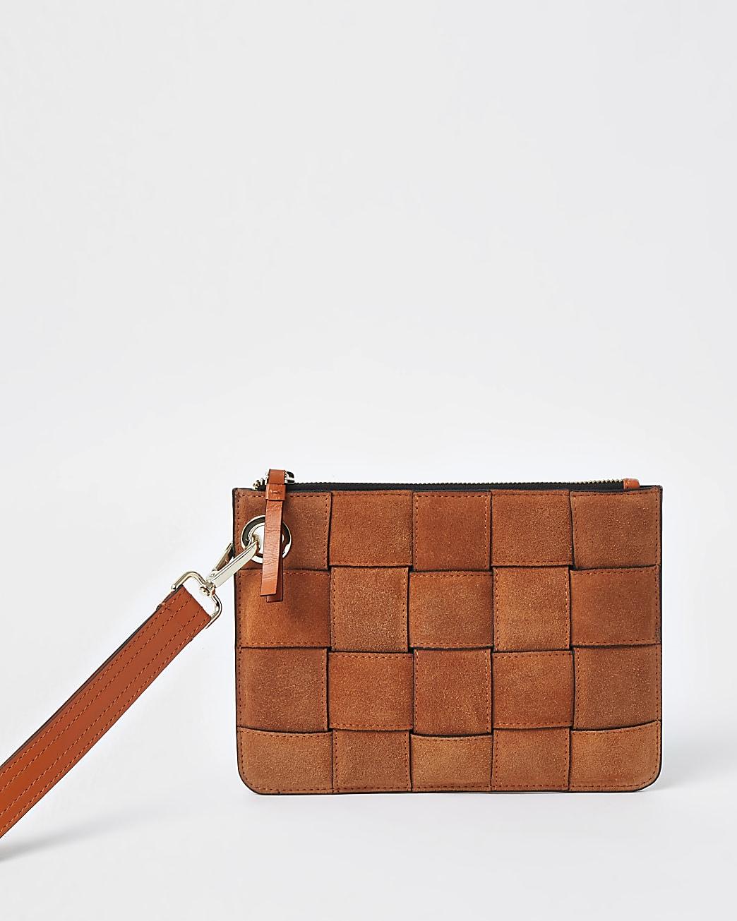 Orange suede weave clutch handbag