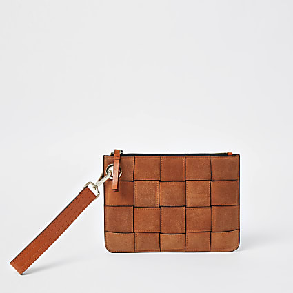 Orange suede weave clutch handbag