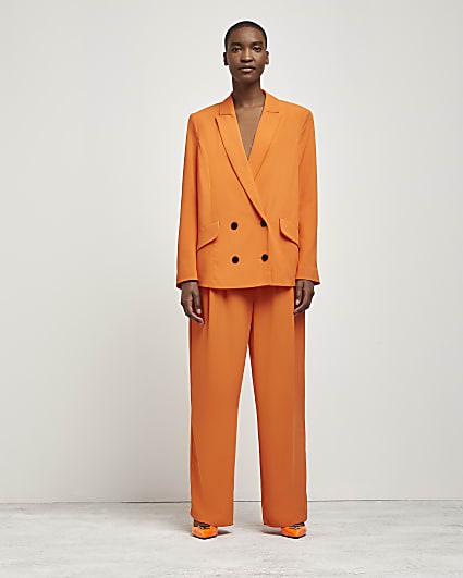 Orange tailored double breasted blazer