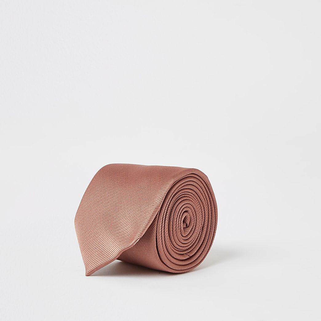 Oranje stropdas van keperstof met textuur