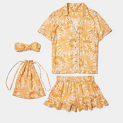 Orange tie dye frill pyjamas set