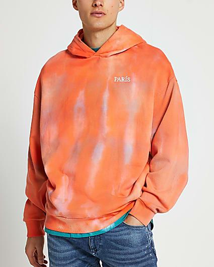 Orange tie dye graphic print oversized hoodie