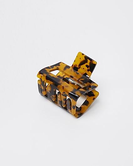 Orange tie dye print mini hair clip