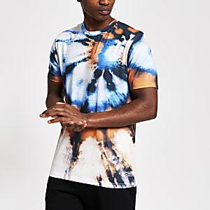 Gebatiktes Slim Fit T-Shirt in Orange