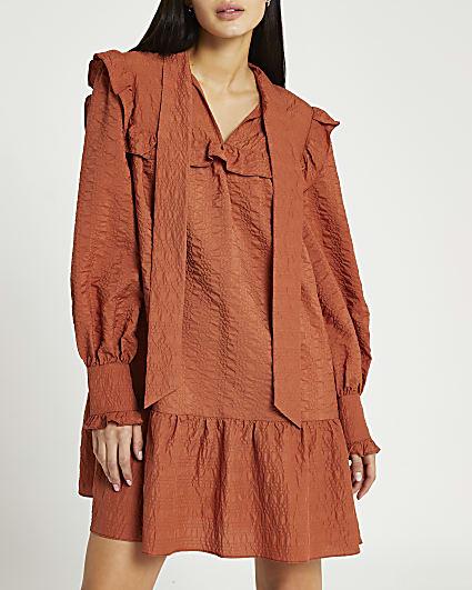 Orange tie neck smock dress