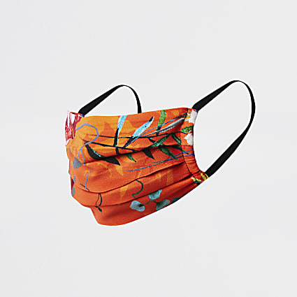 Orange tropical floral print face covering