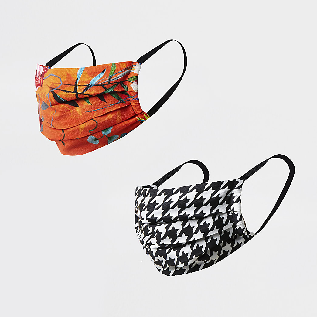 Orange tropical print face covering pack of 2