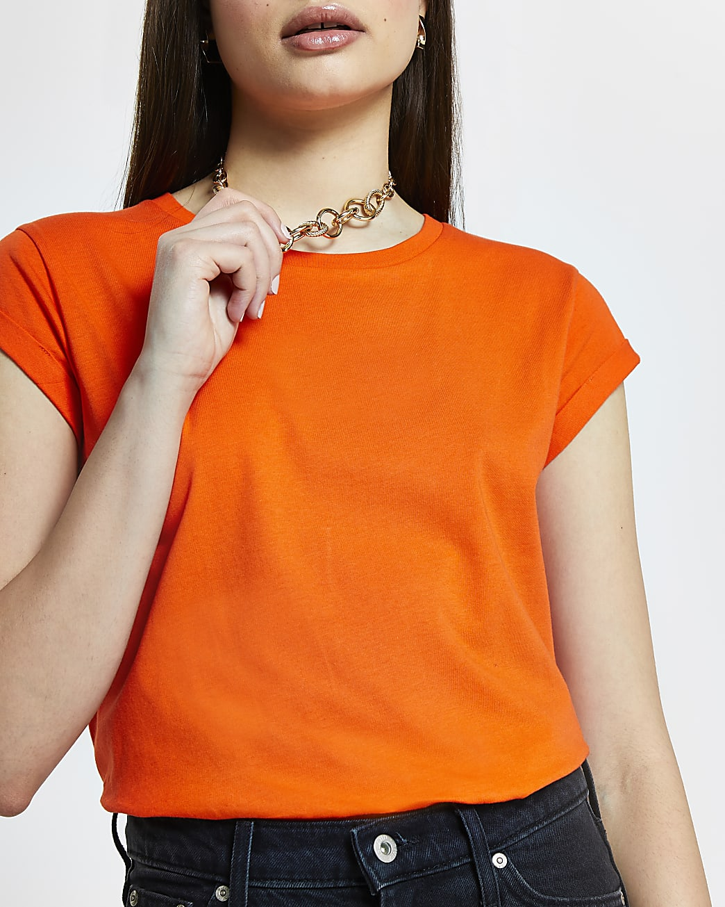 Orange turn back short sleeve t-shirt