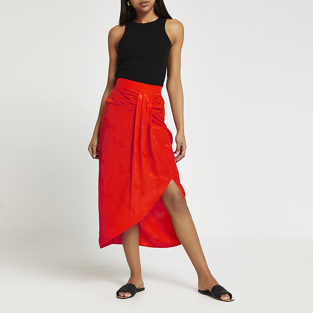Orange twist slip midi skirt