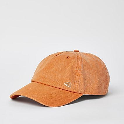 Orange washed twill cap