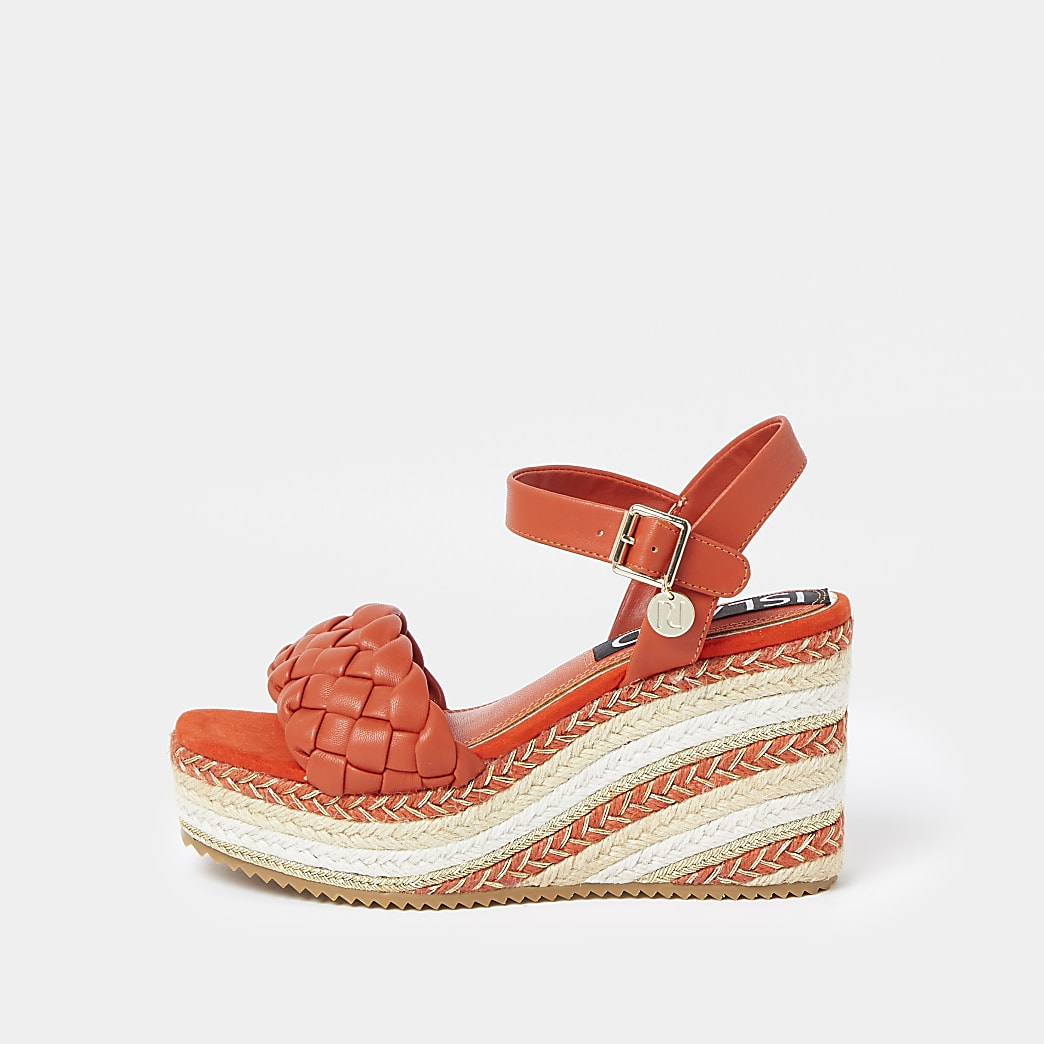 Orange weave faux leather wedge heels