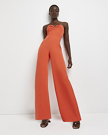 Orange wide leg jumpsuit