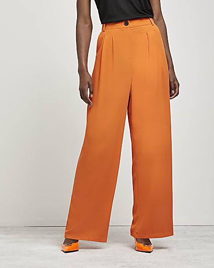 Orange wide leg trousers