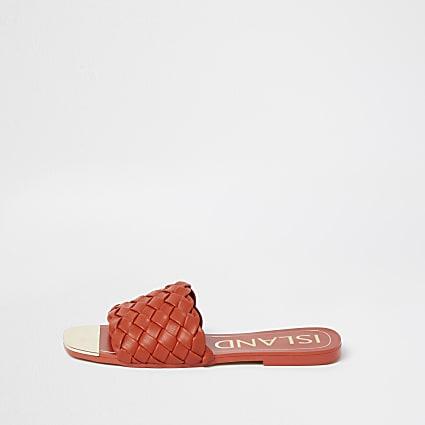 Orange woven flat sandal
