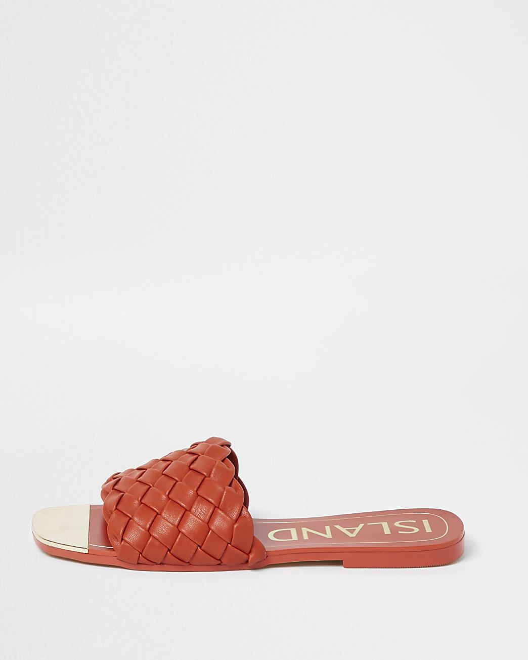 Orange woven flat sandals