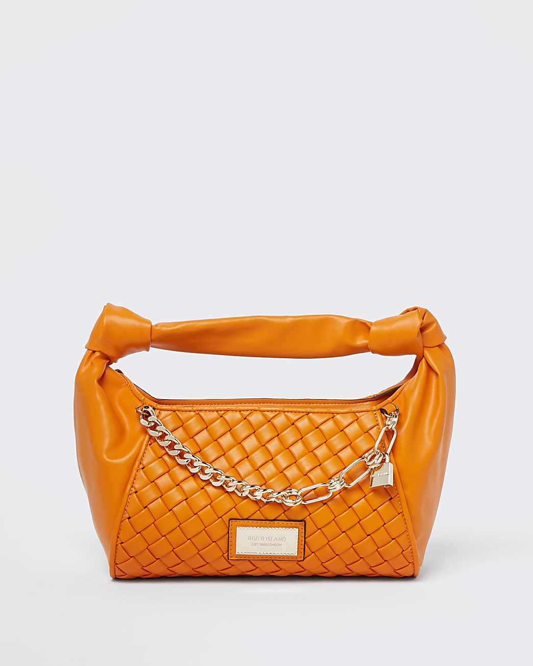 Orange woven scrunch bag