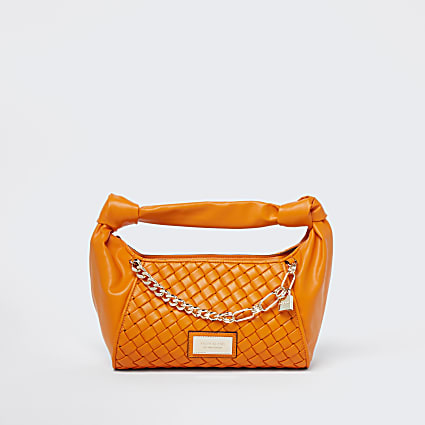Orange woven scrunch bag