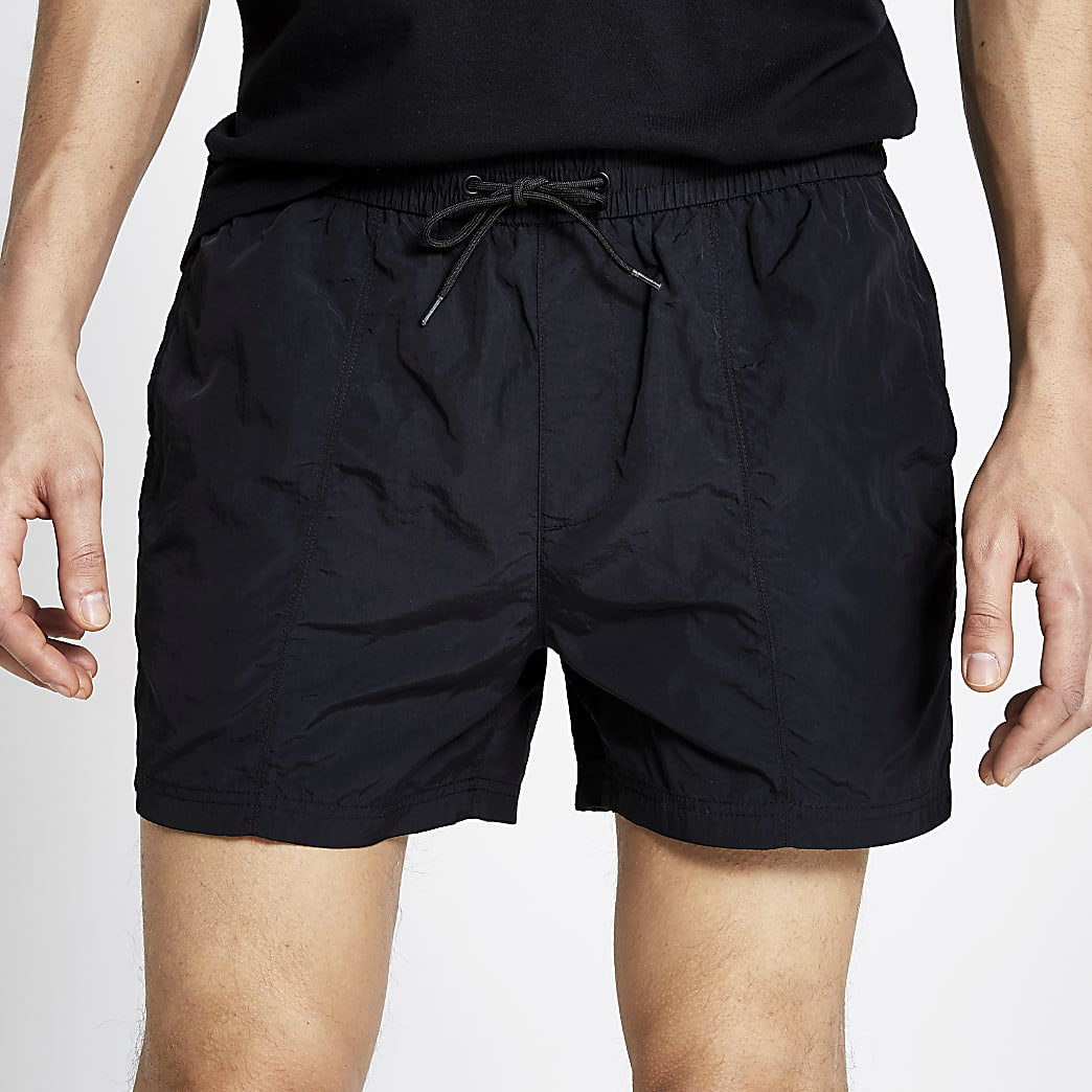 Pastel Tech black drawstring swim shorts