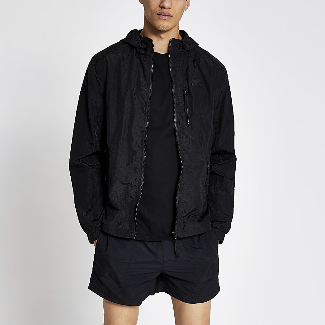Pastel Tech black nylon hooded jacket