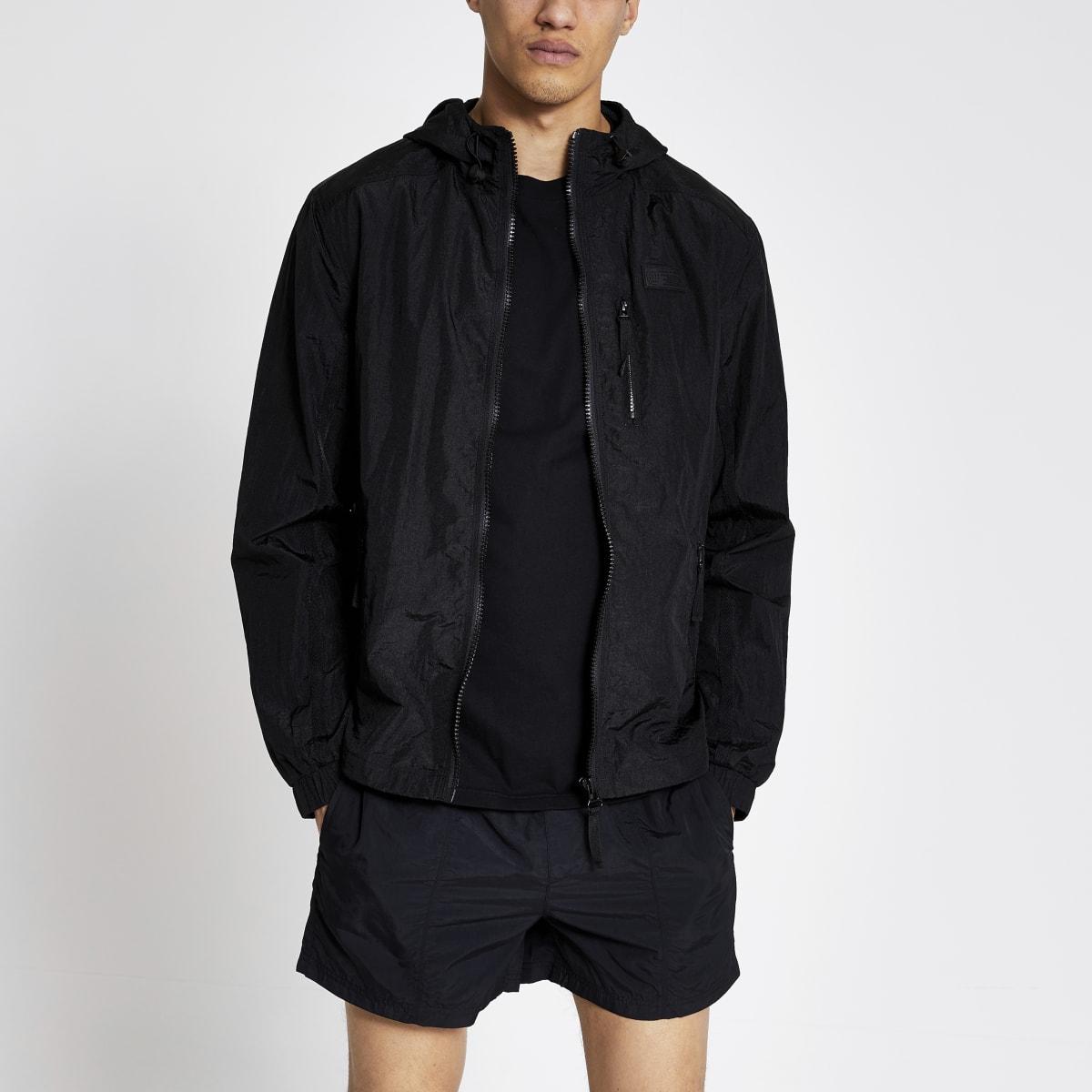 Pastel Tech - Zwart nylon jack met capuchon
