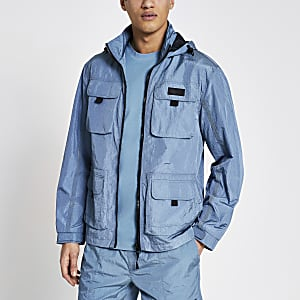 Pastel Tech – Blaue Nylon-Jacke mit Frontbrusttaschen