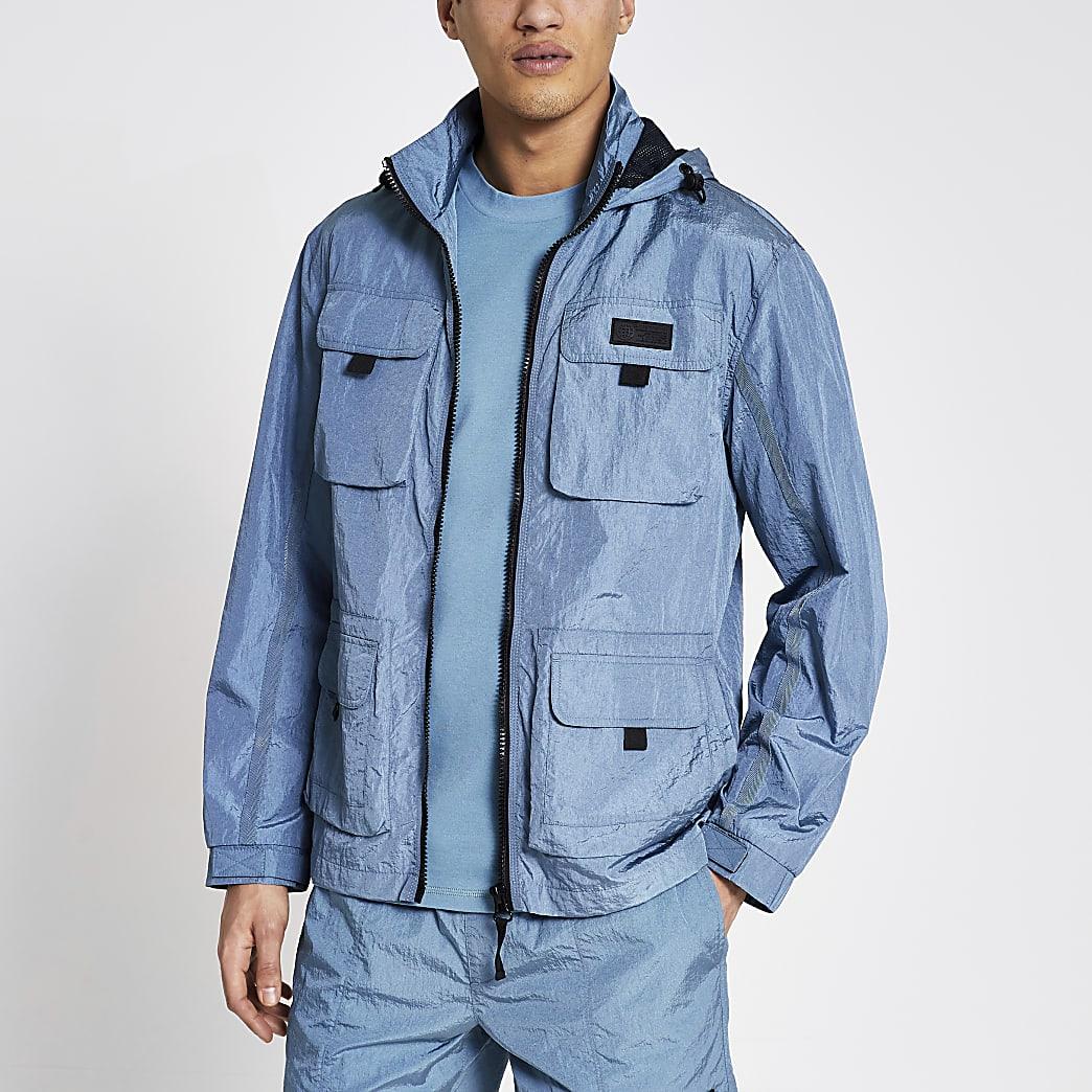 Pastel Tech blue nylon pocket front jacket