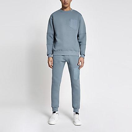 Pastel Tech blue nylon pocket sweatshirt