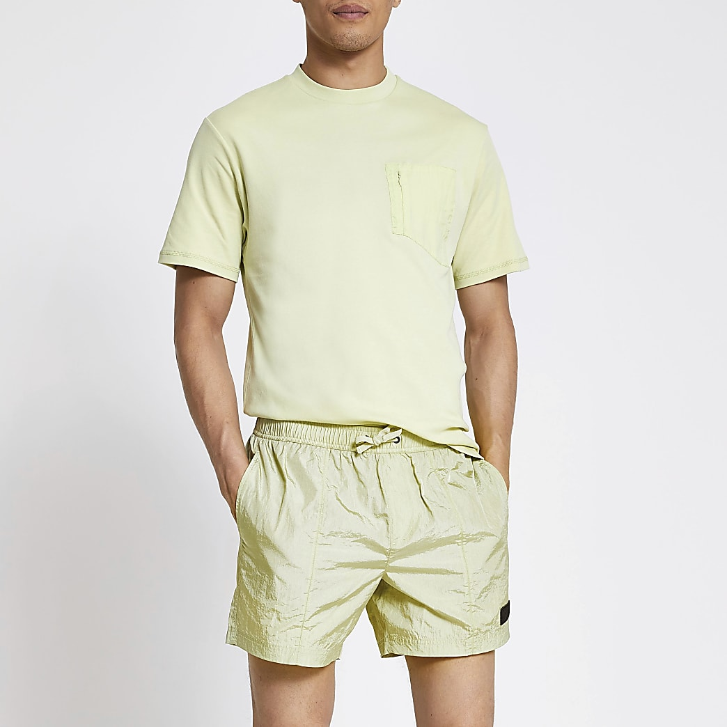 Pastel Tech green drawstring swim shorts