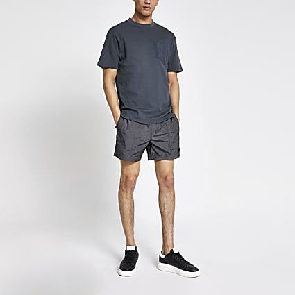 Pastel Tech grey drawstring swim shorts