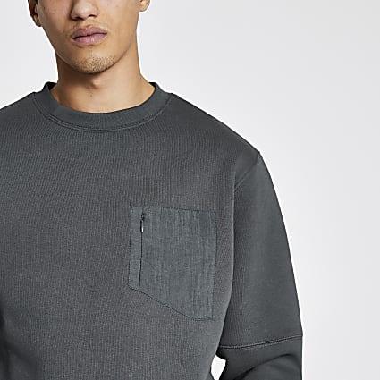 Pastel Tech grey nylon pocket sweatshirt