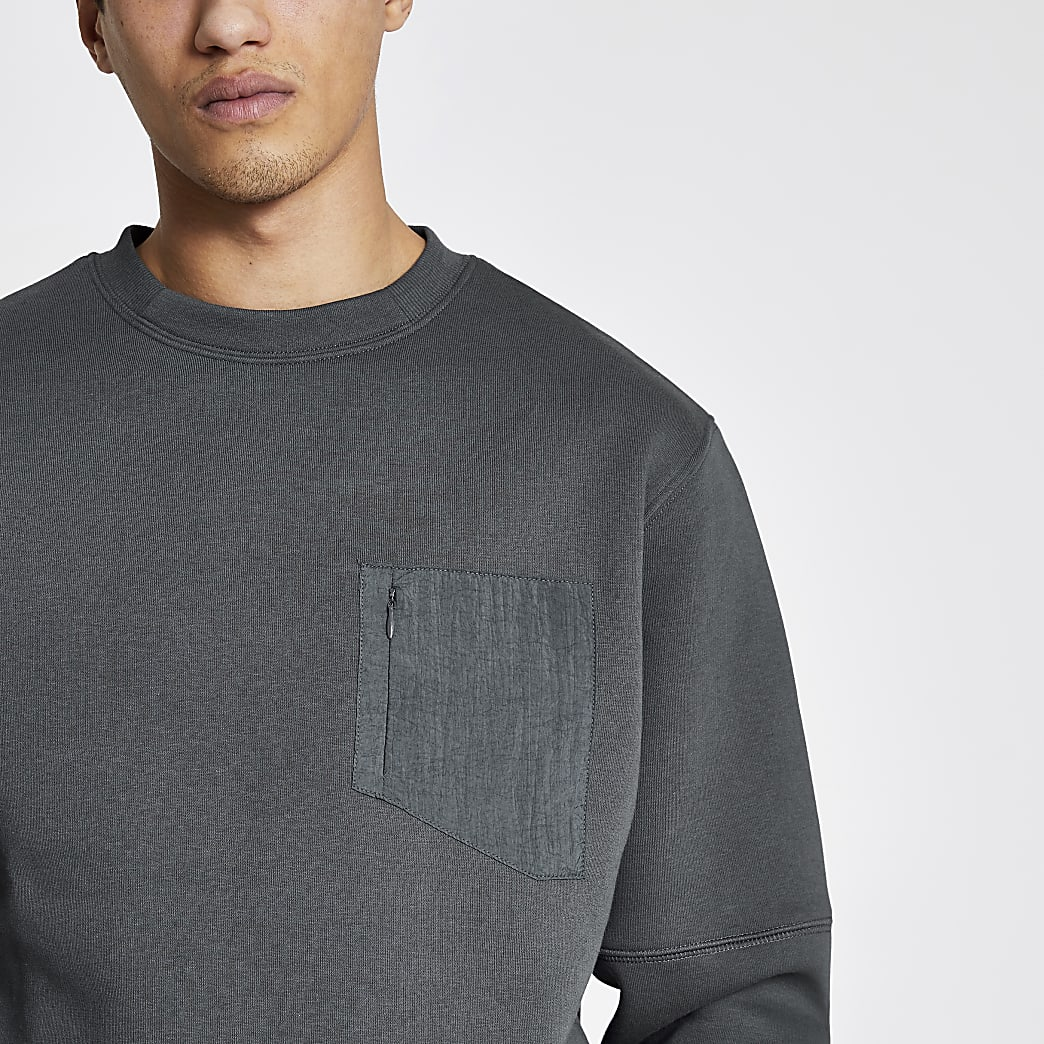 Pastel Tech grey nylon pocket sweatshirt