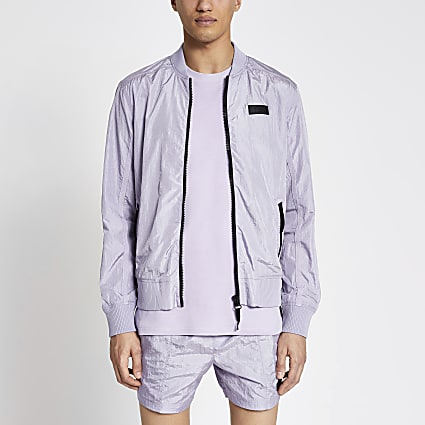 Pastel Tech purple nylon bomber jacket