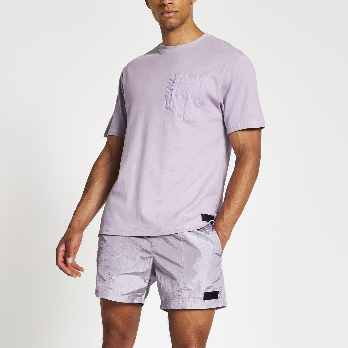 Pastel Tech purple nylon pocket T-shirt