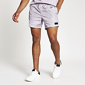 Pastel Tech purple tape side swim shorts