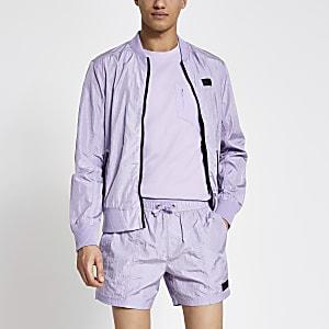 Pastel Tech – Short de bain avec bande latérale violet