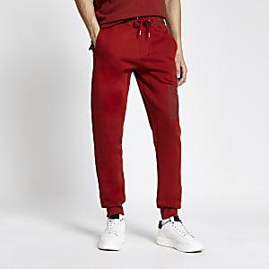 Pastel Tech – Rote Nylon-Jogginghose in Blockfarben