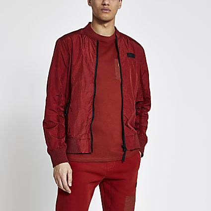 Pastel Tech rust nylon bomber jacket